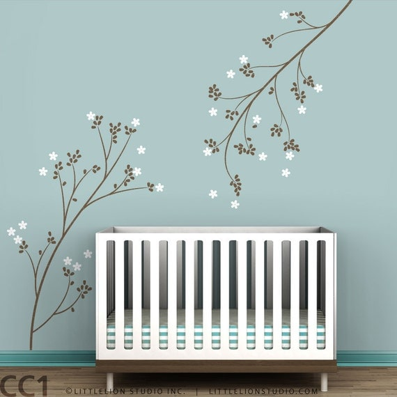 Blossom Branches Wall Decal - Delicate  decal  - Blue, Brown, White, Gray, Pink