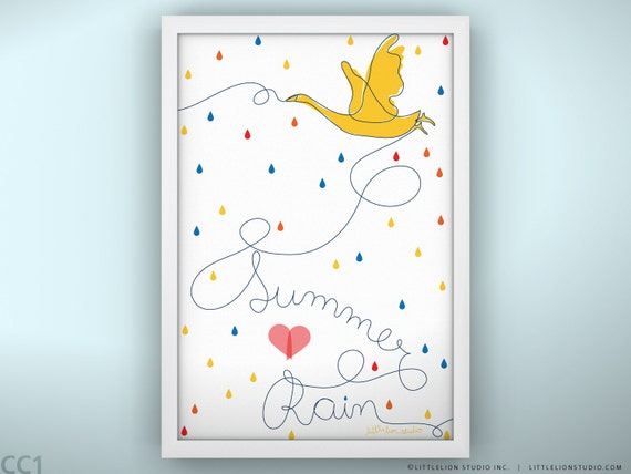 Personalized Print - Summer Rain - Unframed Print - 13 x 19""