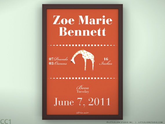 "Birth Announcement 11 3/4  x 15 3/4"" - Queen Giraffe - Unframed"