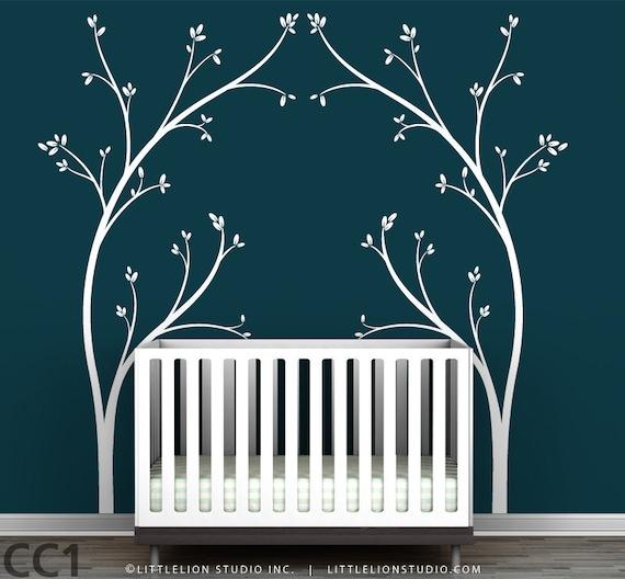 Tree Canopy Bed Headboard Wall Decal - Fun, novelty tree decal design - Modern Nursery Decor