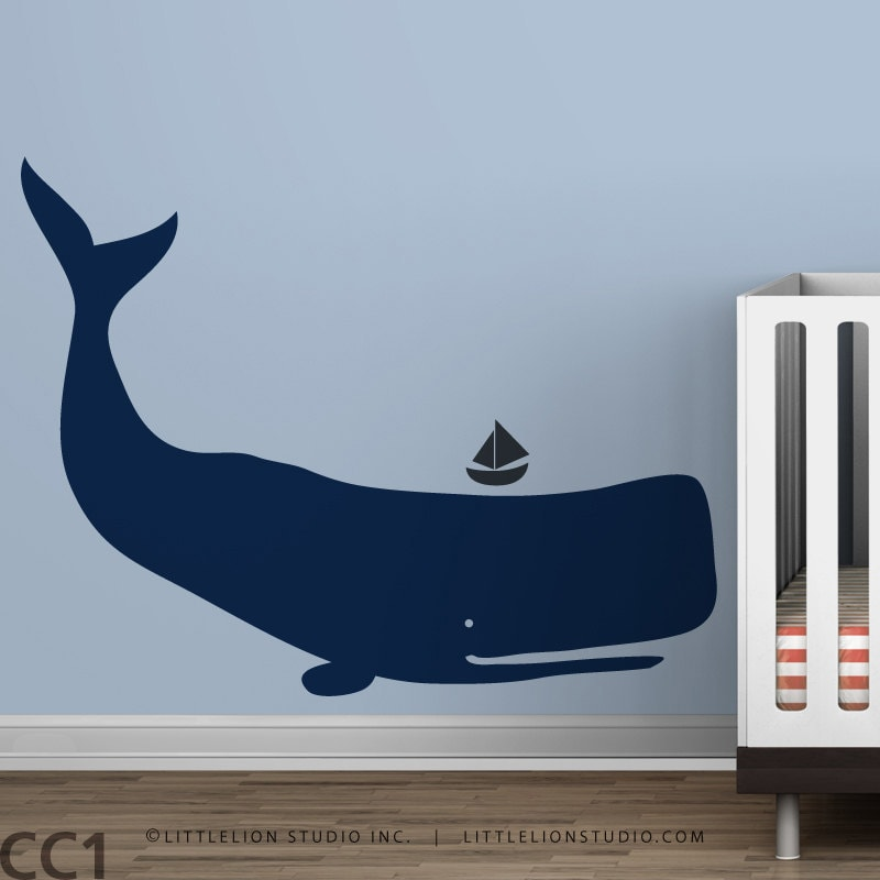 Baby Zoo Whale Blue boys room Ocean Kids Decor by LeoLittleLion