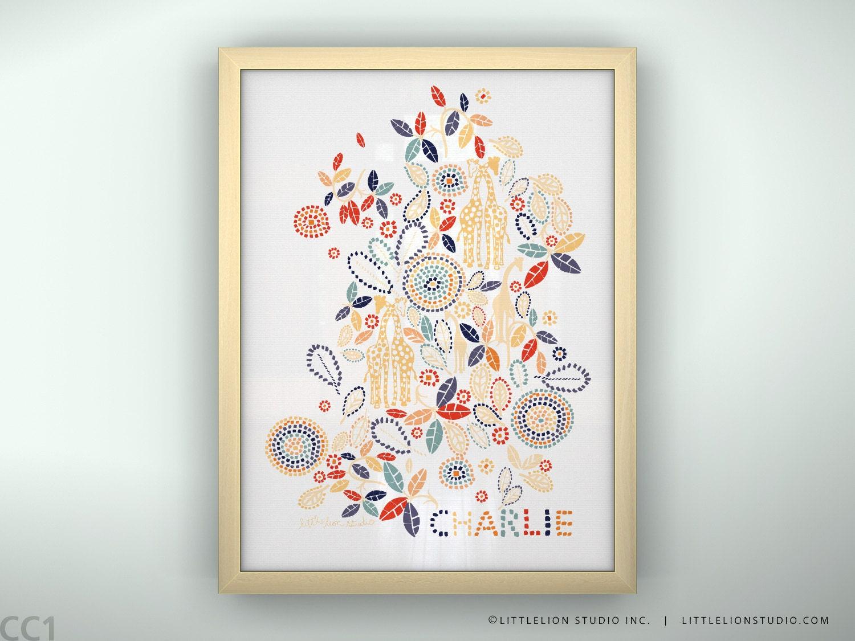 children 39 s wall art custom baby name giraffe flowers art. Black Bedroom Furniture Sets. Home Design Ideas