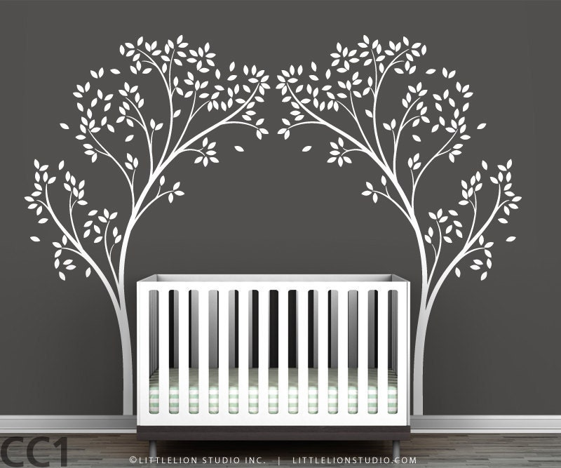 Tree Canopy Portal Wall Sticker Two Symmetrical Tree Decals In