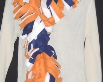 Fleece Fringed Scarf Muffler navy Orange White War Eagle IV Auburn Tigers Broncos