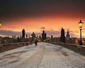 Charles Bridge at sunrise in winter III, Prague, Czech Republic - Polaroid - Fine Art Photograph - Fine Art Photograph
