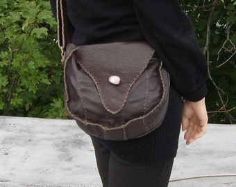 Genuine leather  shoulder bag with inlay stone -Burning Man