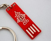 Circuit Board Keychain with Robot - lights up