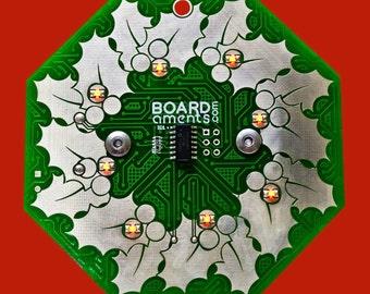 Wreath Circuit Board Ornament - Interactive