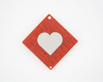 Circuit Board Magnet with Cherry Blossoms and Heart