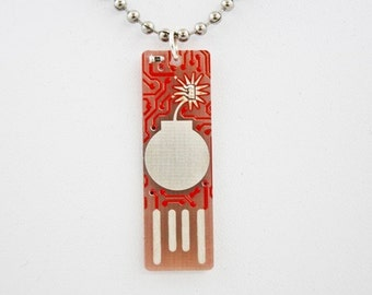 Bomb USB Circuit Board Necklace in Red (Ball Chain) - lights up