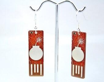 Bomb USB Circuit Board Earrings