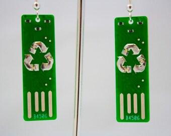 Recycle USB Circuit Board Earrings - LIGHTS UP