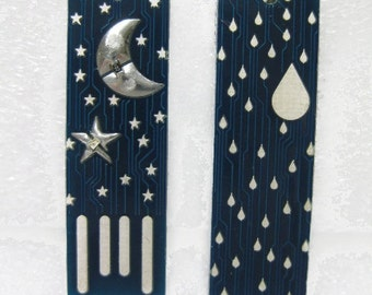 Moon and Stars USB Circuit Board Magnet in Blue - LIGHTS UP