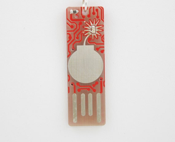 Bomb USB Circuit Board Magnet in Red - LIGHTS UP