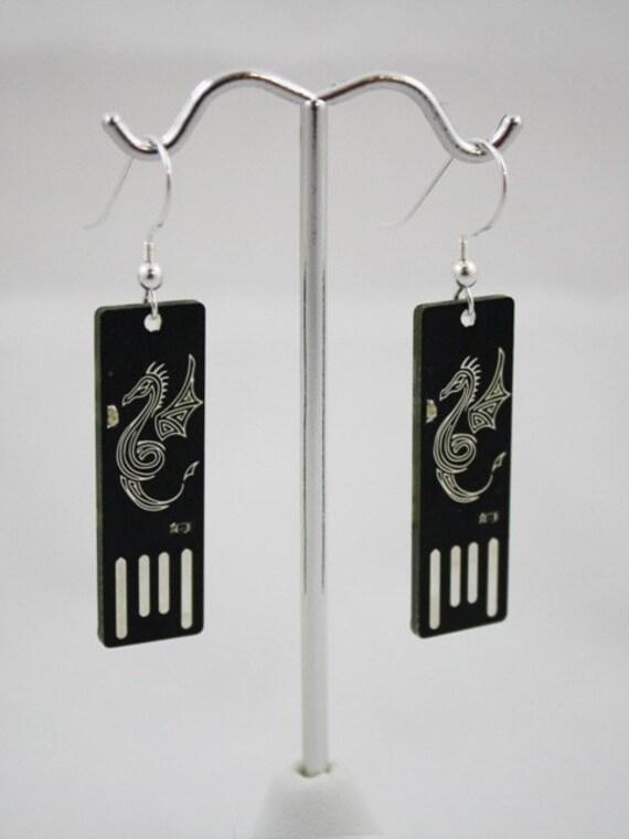 Dragon USB Circuit Board Earrings - Light Up