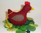 Rhode Island Red Hen -- Tiny Chicken Ornament