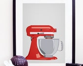 Kitchen Aid Mixer Poster Print A3 / 11x14 - Red