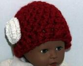 Red Hat with White Flower  - Newborn size