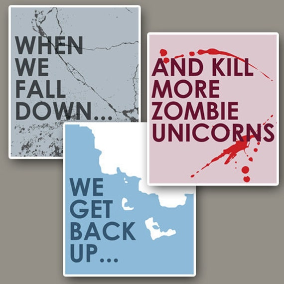 Kill More Zombie Unicorns // Funny Minimalist Print Collection // Three 12x14 Inch Posters