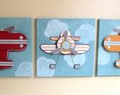 Wild Blue Yonder - Boys Airplane Art  - Children's Room Decor - Nursery Wall Art - 3 - 12x12 Canvases