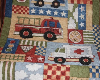 FireTruck, Police Car and Ambulance Panel Quilt