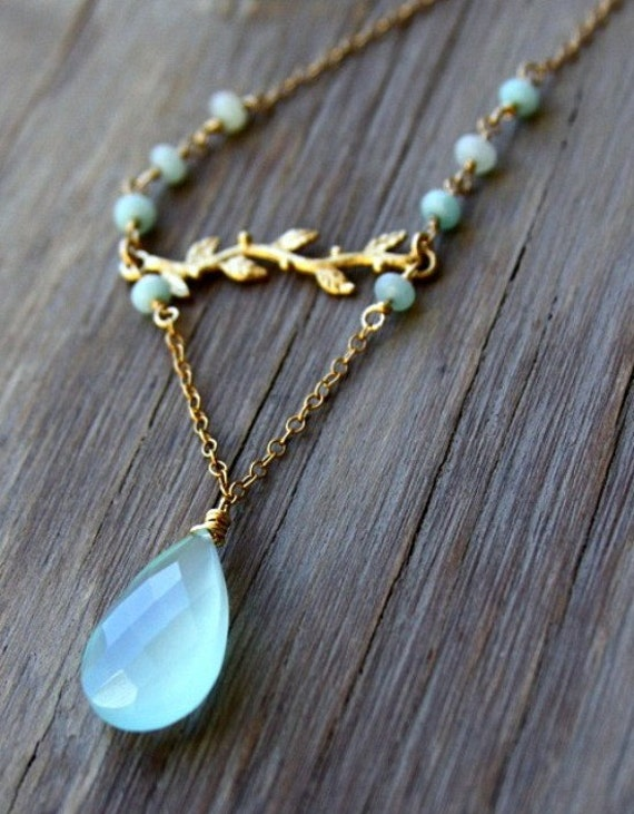 gemstone jewelry designs aqua chalcedony pendant with vermeil branch