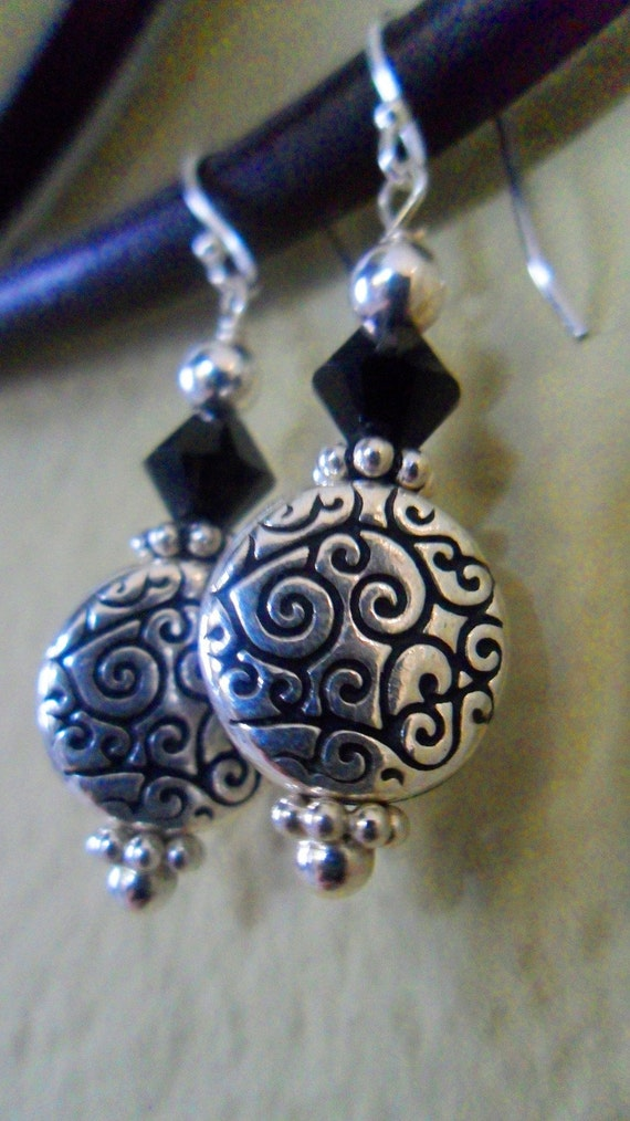Classy Sterling Swirly Earrings for Bridal or Classy Wear - Made with: Sterling Silver and Black Swarovski Crystal