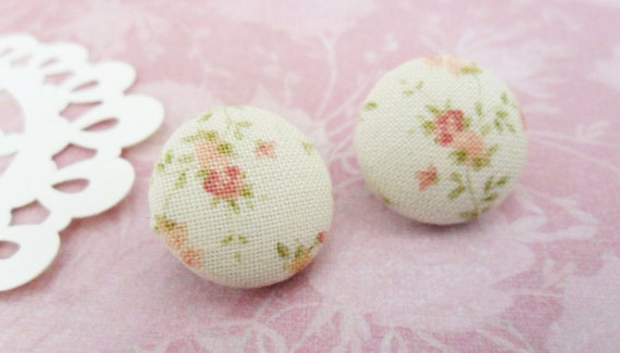 Country Button Earrings w/ Flowers