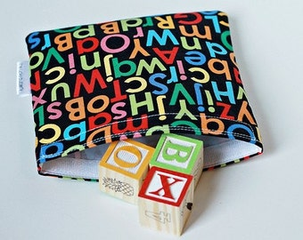 Eco Friendly Reusable Sandwich Bag- Multicolor Alphabet