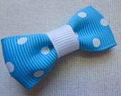 Teal Blue with White Polka Dots Bitty Bow