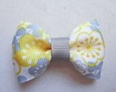 Yellow and Gray Flowers Bow Tie Hair Bow