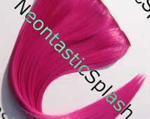 """16"""" Choose Color & Hair Width Hot Pink Red Blue Purple Orange Clip On Low Heat Safe Synthetic Hair Extensions FREE DOMESTIC SHIPPING"""