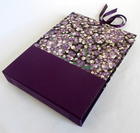 Custom Listing for Rachinda - Purple Blossoms 7x10 Photo Album or Scrapbook with Black Pages and Ties