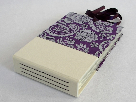 Mini Photo Album Purple and Silver Paisley - holds 48 4x6 photos - Ships Now