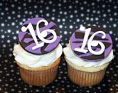 Fondant cupcake toppers Zebra Print, Sweet 16 Birthday party