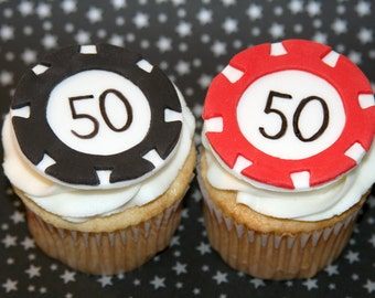 Fondant cupcake toppers - Poker Chips, Retirement party, Vegas