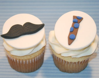 Fondant cupcake toppers - Father's Day Tie Mustache