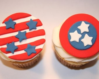 Fondant cupcake toppers Stars and Stripes, Fourth of July, Patriotic