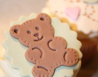 Fondant cupcake toppers Baby Shower , Teddy Bear