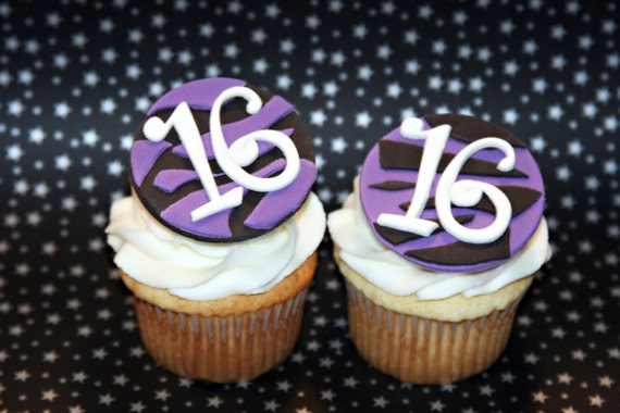 Fondant cupcake toppers Zebra Print Sweet 16 Birthday party