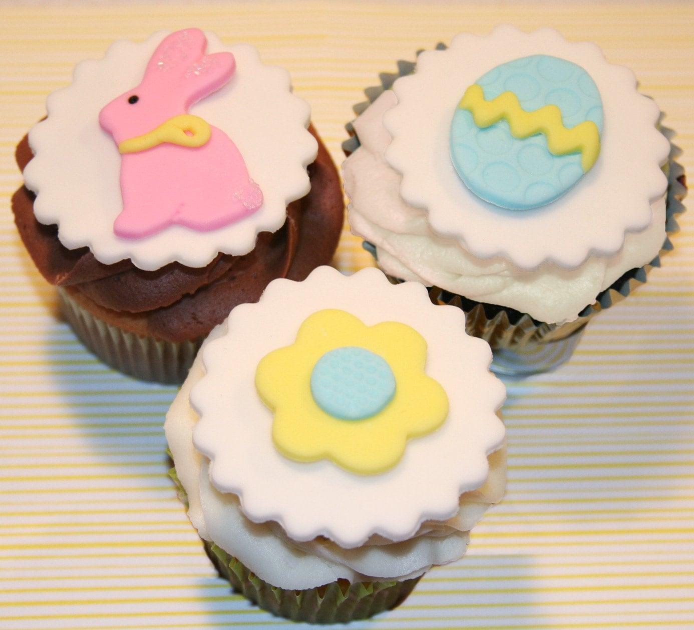 Fondant cupcake Topper Easter Spring
