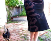 HAVAC - New skirt, printed on new condition recycled black Deathrock Horror Chaos Burgunday Maroon militant
