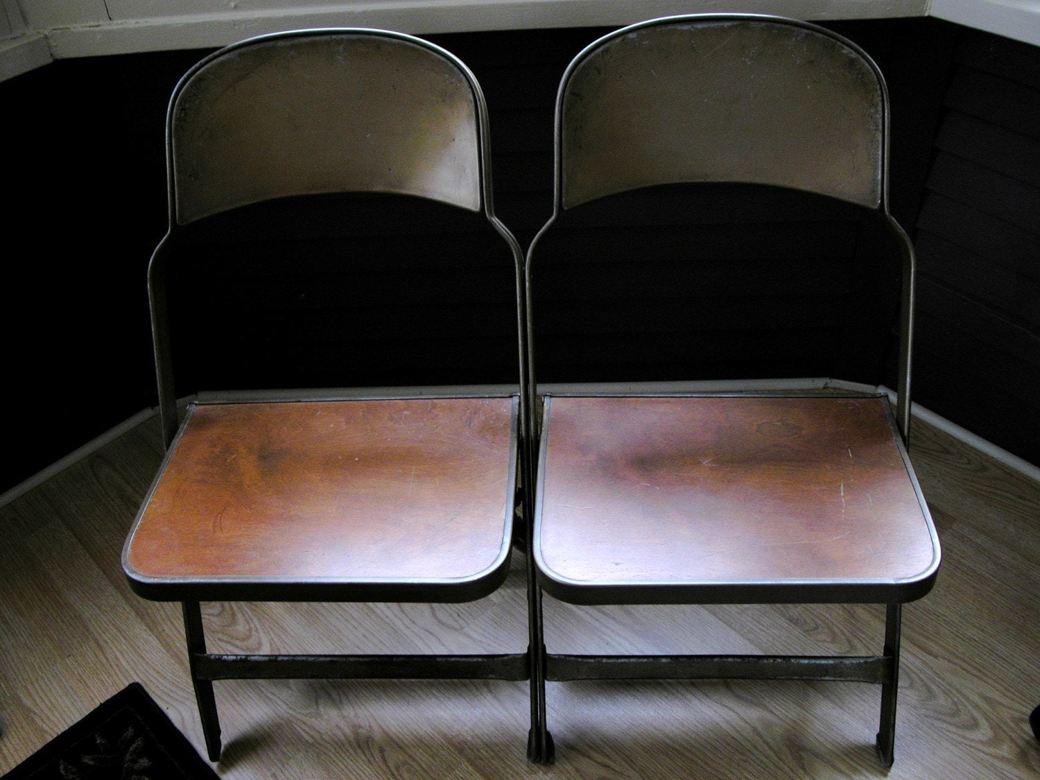 antique clarin adult double seat metal wood folding chair