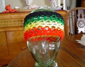 wide headband rasta colors crochet