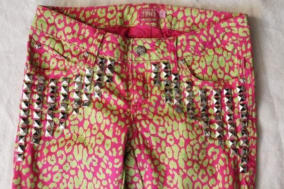 """Crazy Cool Neon Leopard Studded Pants 29"""""""