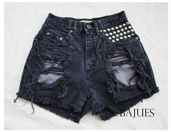 RESERVED- Shredded Faded Black Studded Shorts