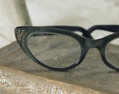 RESERVED FOR TRUDY green 1950s cat glasses