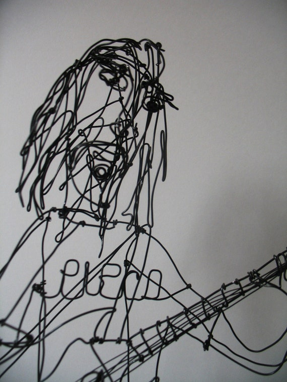 Frank zappa with poodle dog wire sculpture by by sopovintage for Dog wire art