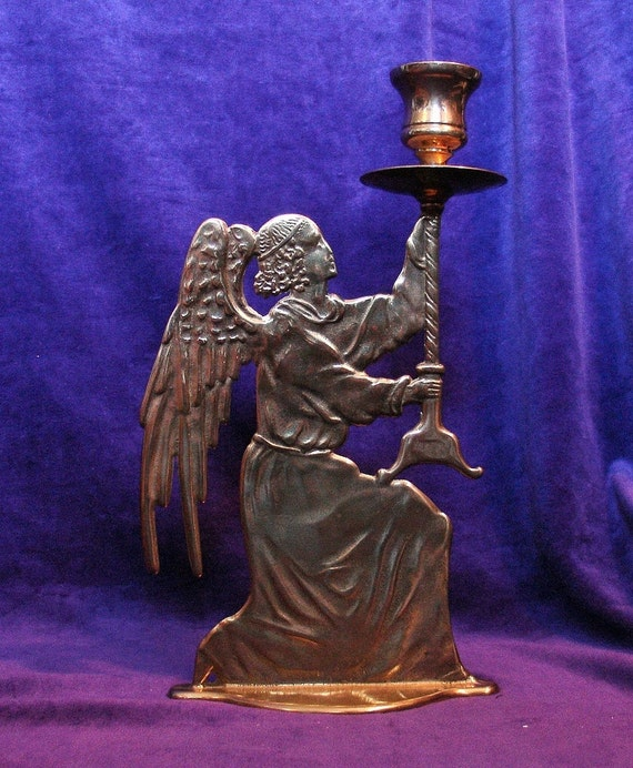 Vintage Gothic Cathedral Brass Angel Candle Holder Candlestick