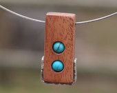 No. 28 Pendant Mahogany with Turquoise and Silver